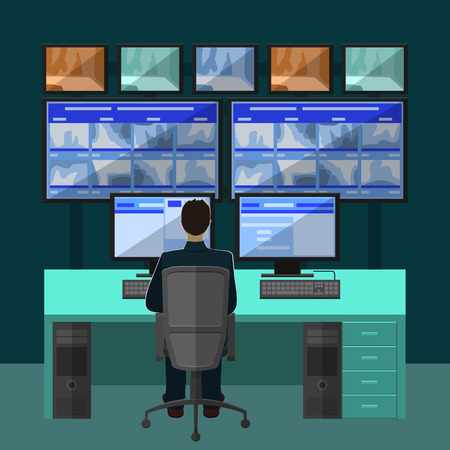 Security room in which working professionals. surveillance cameras in a flat style