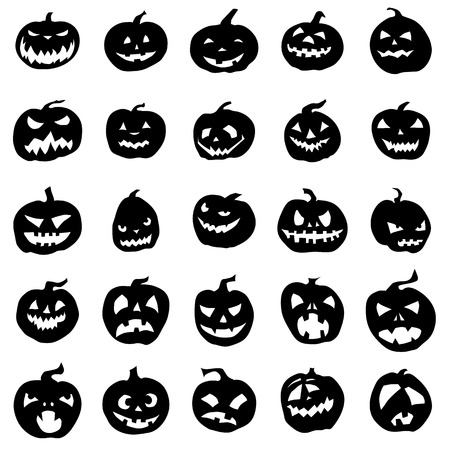 Pumpkin silhouettes set isolated on white background