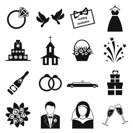 Wedding icons set. Black simple icons isolated on a white