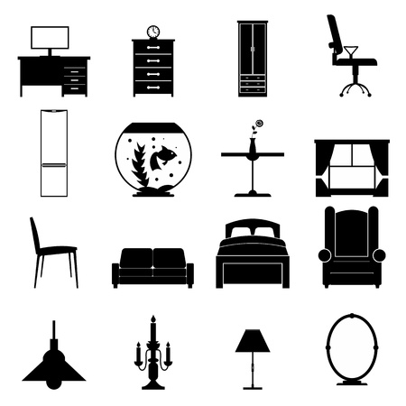Furniture black icons set. Simple icons isolated on a white