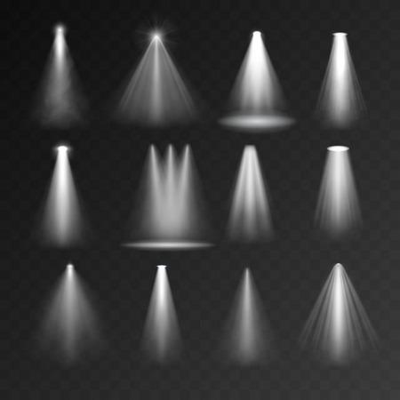 Illustration pour Light sources set on transparent background. Spotlight set for web and mobile devices - image libre de droit