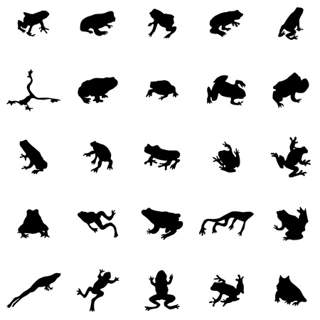 Frog silhouettes set isolated on white background