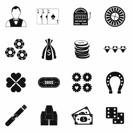 Casino simple icons set for web and mobile devices