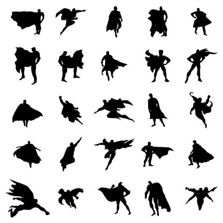 Ilustración de Superhero man silhouettes set isolated on white background - Imagen libre de derechos