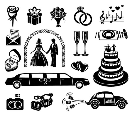 Photo pour Wedding black simple icons set for web and mobile devices - image libre de droit