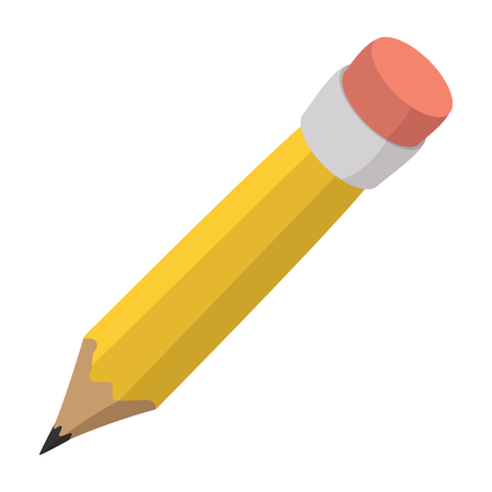 Illustration pour Pencil with eraser cartoon icon isolated on a white background - image libre de droit