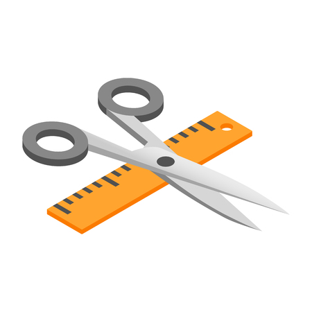 Illustration pour Scissors with a ruler 3d isometric icon isolated on a white background - image libre de droit