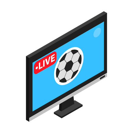 Illustration pour Football match on TV live stream isometric 3d icon on a white background - image libre de droit
