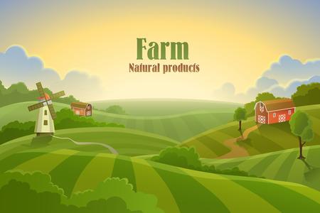 Illustration pour Farm flat landscape. Organic food concept for any design - image libre de droit
