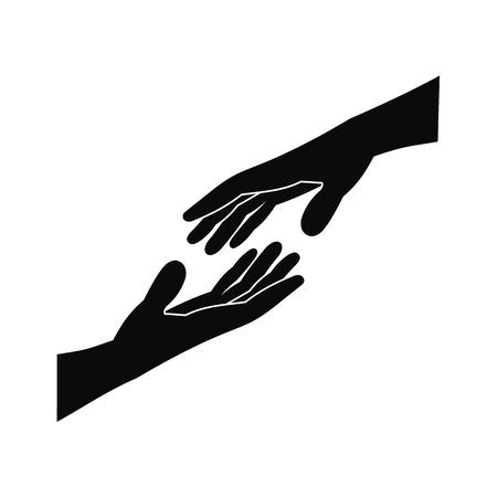Illustration pour Two arms stretching towards each other black simple icon - image libre de droit