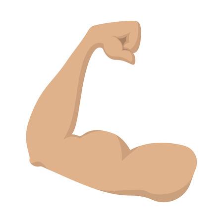 Illustration pour Strong biceps cartoon icon on a white background. Mans arm - image libre de droit