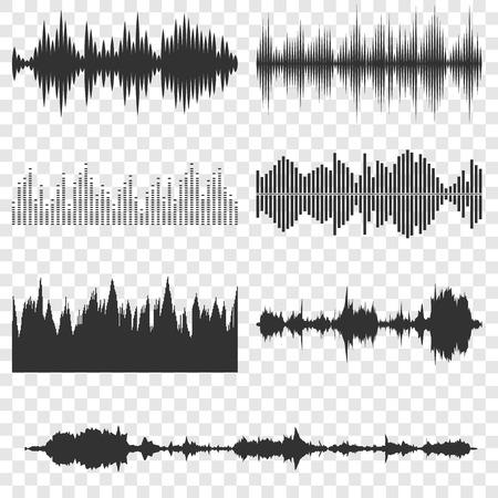 Illustration pour Sound waves icons set on transparent background - image libre de droit