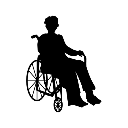 Illustration for Man or woman in wheelchair silhouette isolated on white - Royalty Free Image