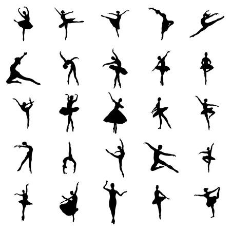 Ilustración de Ballerina silhouettes set isolated on white background - Imagen libre de derechos