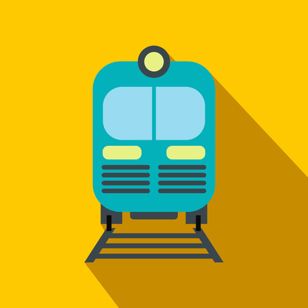 Blue train flat icon on a yellow background with shadow