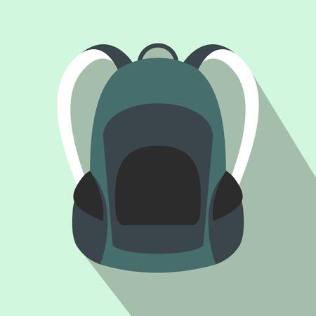 Illustration pour Touristic backpack flat icon on a light blue background - image libre de droit