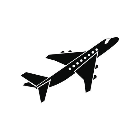 Ilustración de Passenger airplane black simple icon isolated on white background - Imagen libre de derechos