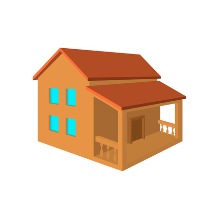 Two Y House With Porch Flat Icon