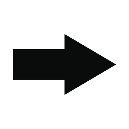 Ilustración de Right arrow black simple icon isolated on white background - Imagen libre de derechos