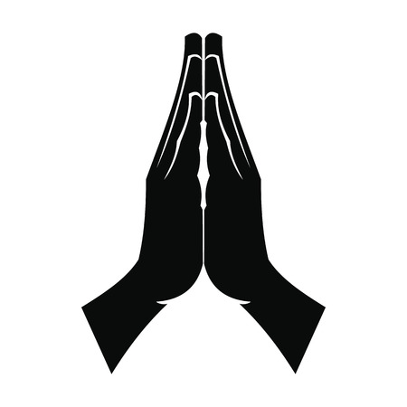 Illustration for Praying hands black simple icon isolated on white background - Royalty Free Image