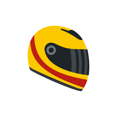 Illustration pour Racing helmet flat icon. Yellow and red helmet isolated on white background - image libre de droit
