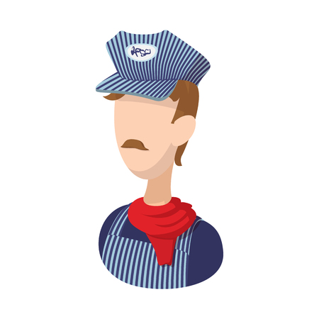 Illustration pour Train conductor cartoon icon on a white background - image libre de droit