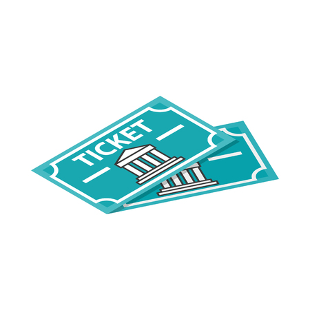 Illustration pour Two museum tickets icon in isometric 3d style on a white background - image libre de droit