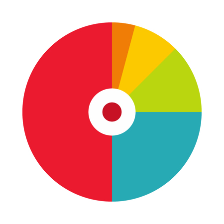 Illustration for Pie chart with a hole in the center icon in flat style on a white background - Royalty Free Image