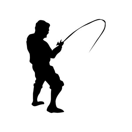 Ilustración de Fisherman silhouette black isolated on white background - Imagen libre de derechos