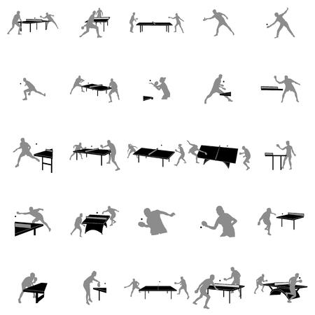 Illustration pour Table tennis players silhouette set on a white background - image libre de droit