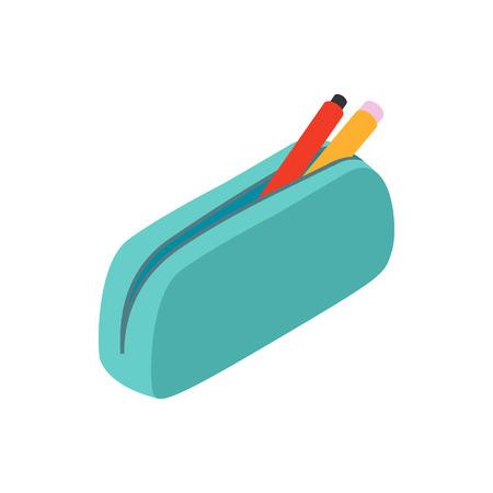 Illustration pour Blue pencil case icon in isometric 3d style on a white background - image libre de droit