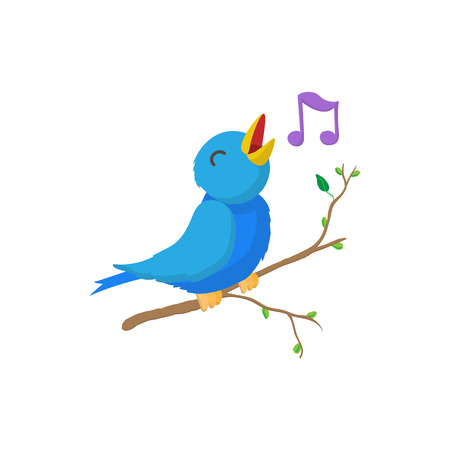 Illustration pour Singing bird icon in cartoon style isolated on white background. Bird sings on branch - image libre de droit
