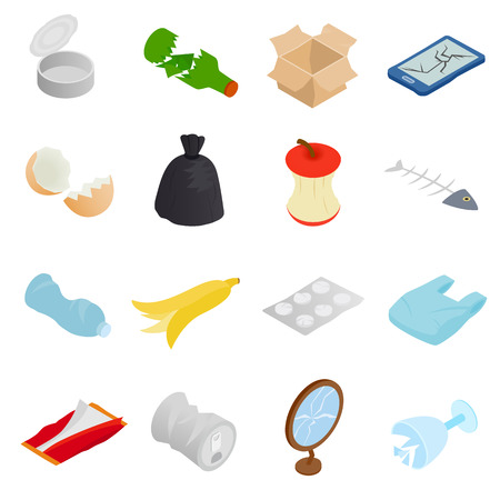 Illustration for Waste and garbage for recycling icons set in isometric 3d style on a white background - Royalty Free Image