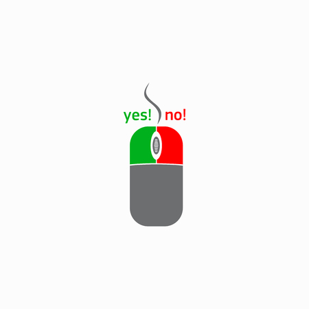 Computer mouse with yes and no button icon in simple style on a white background