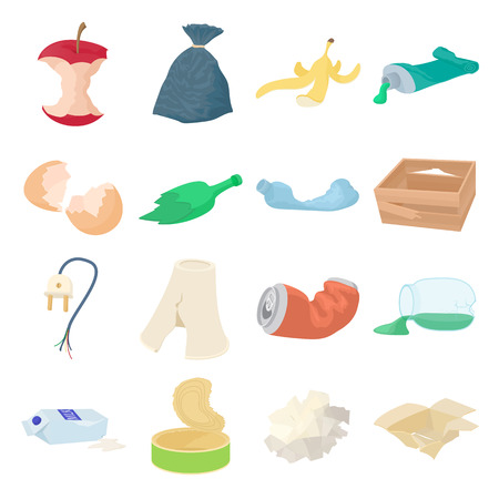 Garbage set icons in isometric 3d style isolated on white background
