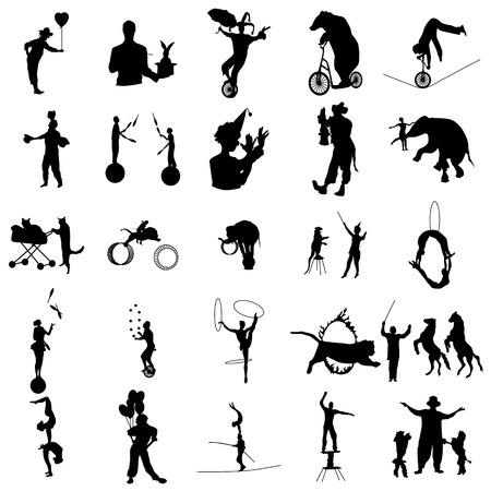 Illustration pour Circus silhouette set in simple style on a white background - image libre de droit