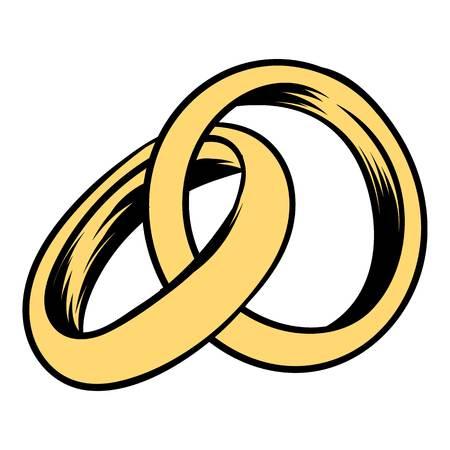 Ilustración de Wedding rings icon cartoon - Imagen libre de derechos