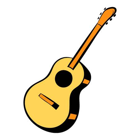 Acoustic guitar icon cartoon