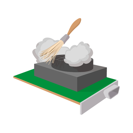 Computer cleaning icon, cartoon style