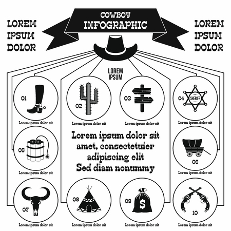Cowboy infographic elements, simple style