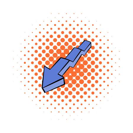 Broken down arrow icon, comics style