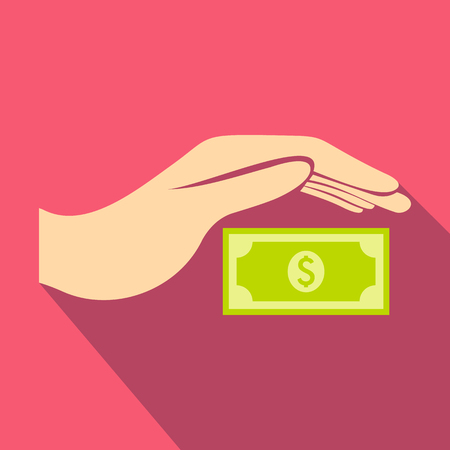 Hand protects dollar banknote icon, flat style