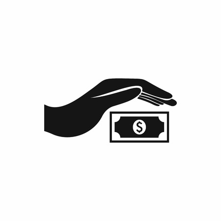 Hand protects dollar banknote icon, simple style