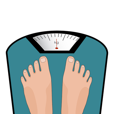 Illustration for Concept of weight loss, healthy lifestyles, diet, proper nutrition. Vector feet on the scale. - Royalty Free Image