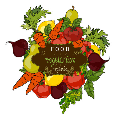 Foto für Set of fresh fruits and vegetables with a label of a healthy diet. Vector hand drawn illustration. The concept of a vegetarian menu, farm food, healthy, natural and organic food. - Lizenzfreies Bild