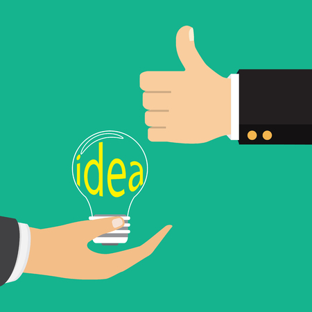 Illustration pour Vector illustration in flat design. Isolated on background. Pointing finger on bulb. Concept of big idea.  - image libre de droit