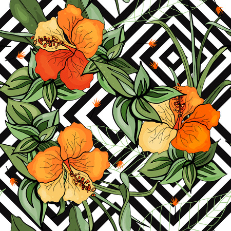 Illustration for Tropical vector seamless flower and leaves pattern. Exotic background. Wallpaper. Blooming realistic isolated jungle plants, palm. Hand drawn bright illustration. - Royalty Free Image