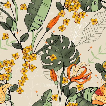 Illustration for Blossom floral seamless pattern. Vintage background. Wallpaper. Blooming realistic isolated flowers. Hand drawn. Vector illustration. - Royalty Free Image