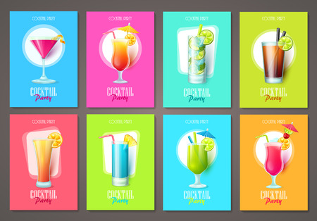 Illustration for Set of cocktail party invitations, flyers, brochures. Vector templates. - Royalty Free Image