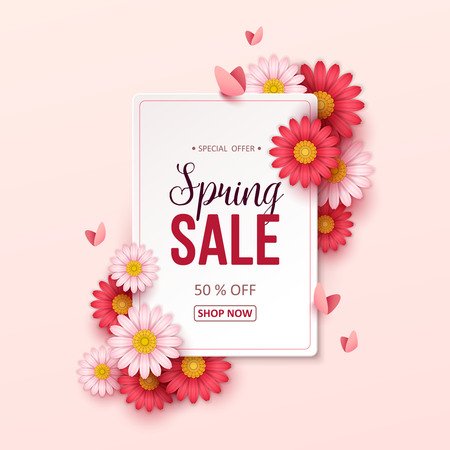 Illustration for Spring sale background with beautiful flowers. Vector illustration - Royalty Free Image